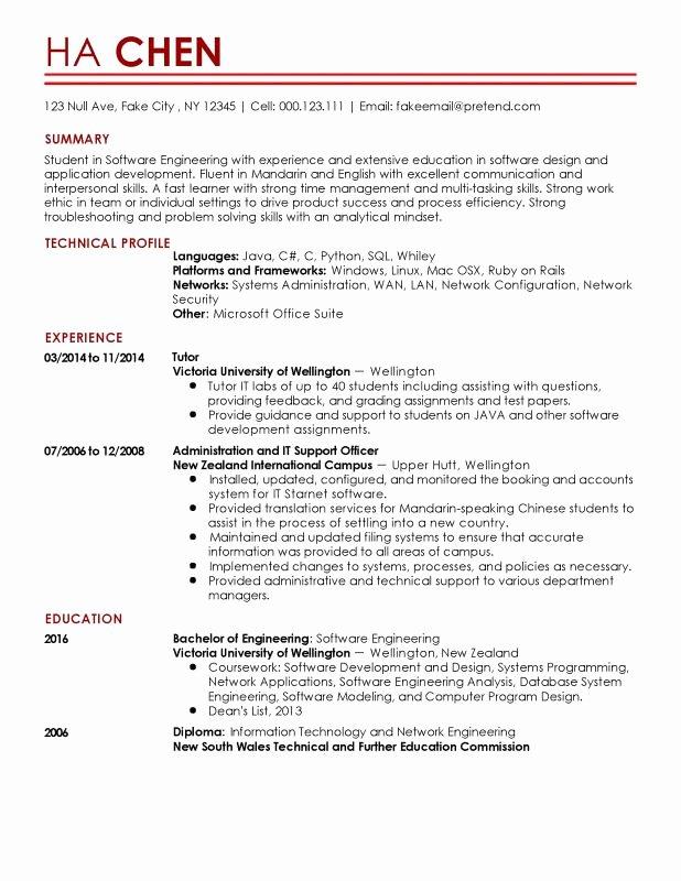 Entry Level Network Engineer Resume New Entry Level software Engineer Resume