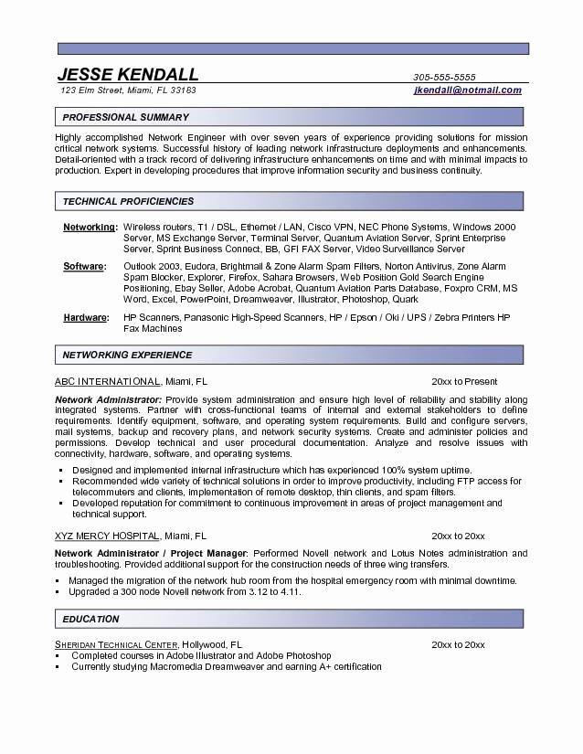Entry Level Network Engineer Resume New Network Administrator Resume