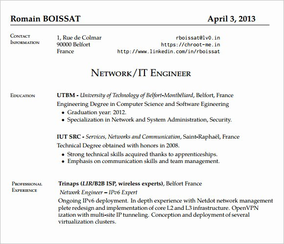 Entry Level Network Engineer Resume Unique Entry Level Network Engineer Resume