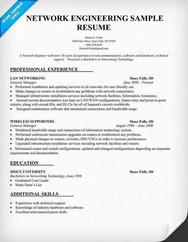 Entry Level Network Engineer Resume Unique Network Engineering Resume Sample Resume Panion