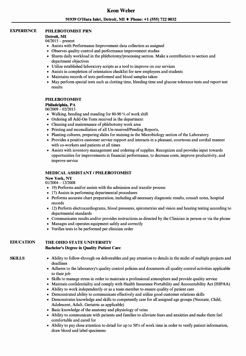 Entry Level Phlebotomy Resume Sample Awesome 10 Phlebotomist Responsibilities Resume