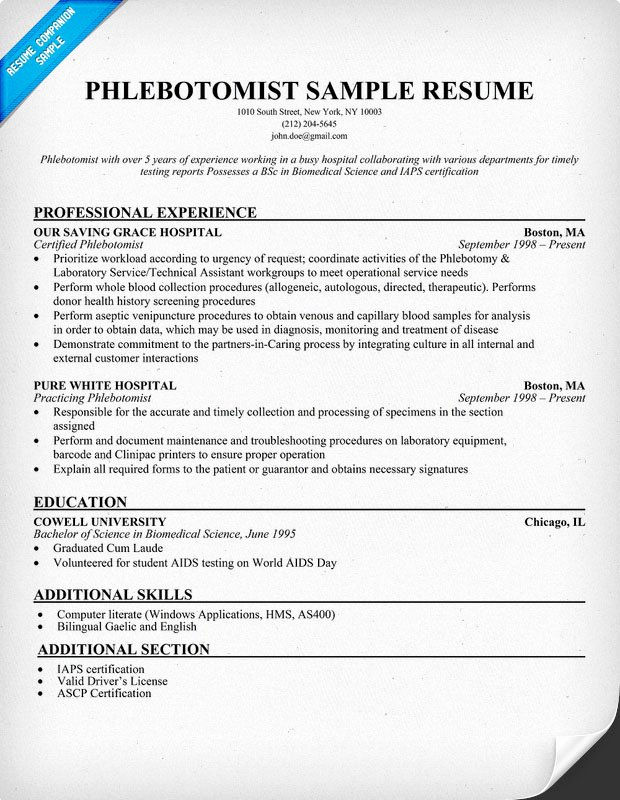 Entry Level Phlebotomy Resume Sample Awesome Phlebotomist Resume Sample