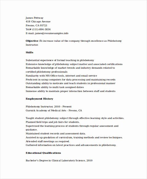 Entry Level Phlebotomy Resume Sample Beautiful Phlebotomy Resume Sample and Tips