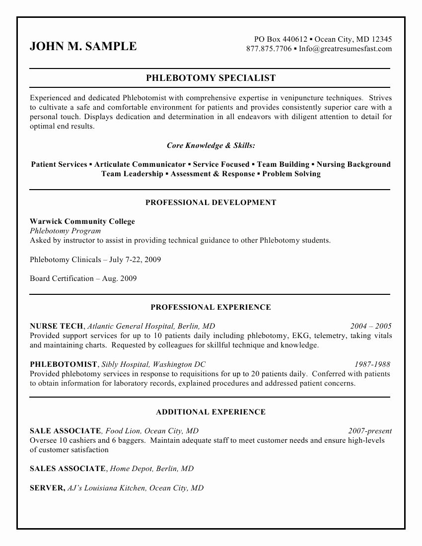 Entry Level Phlebotomy Resume Sample Beautiful Sample Phlebotomist Resume 1250 O