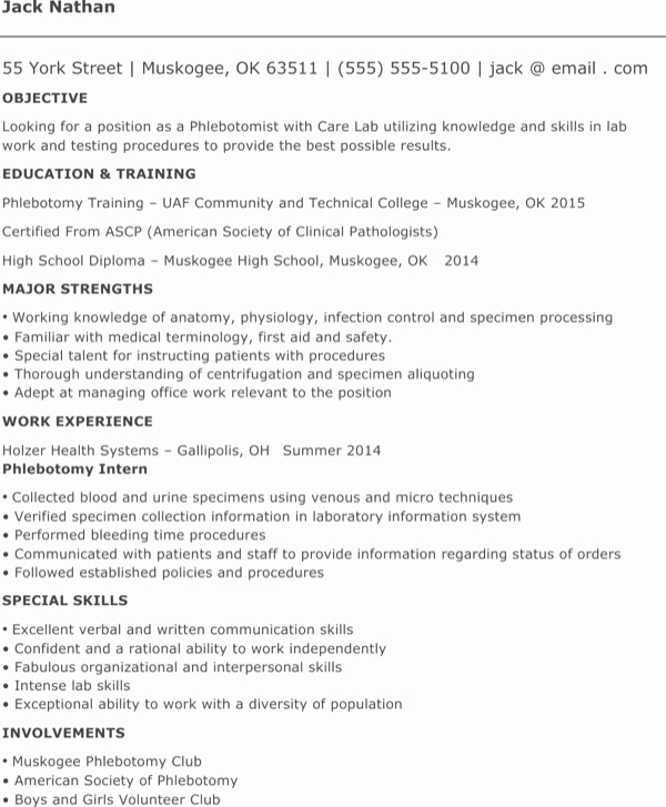 entry level phlebotomy resume