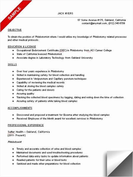 Entry Level Phlebotomy Resume Sample Fresh Phlebotomist Resume Sample