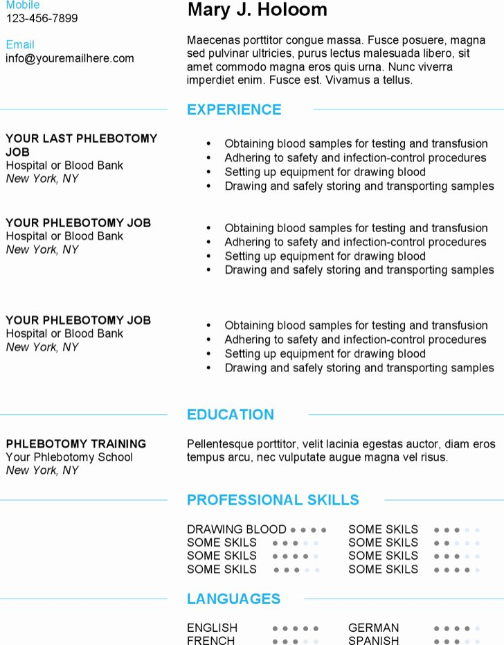 Entry Level Phlebotomy Resume Sample Inspirational 5 Phlebotomy Resume Templates Free Download