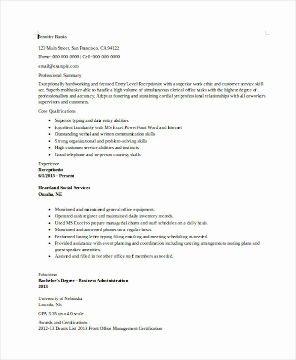 Entry Level Receptionist Resume Awesome 10 Receptionist Resumes Free Sample Example format
