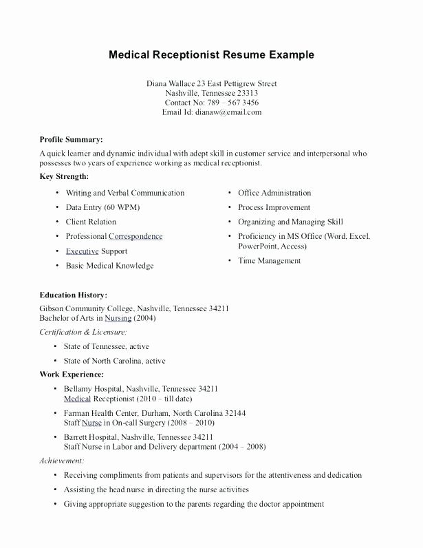 Entry Level Receptionist Resume Awesome 6 Inspirational Easy Resume Examples for Free