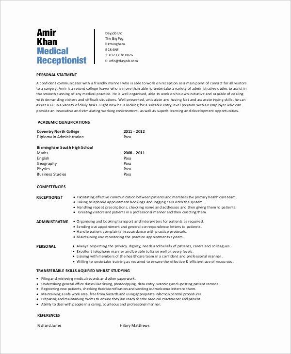 Entry Level Receptionist Resume Beautiful Sample Medical Receptionist Resume 6 Examples In Word Pdf