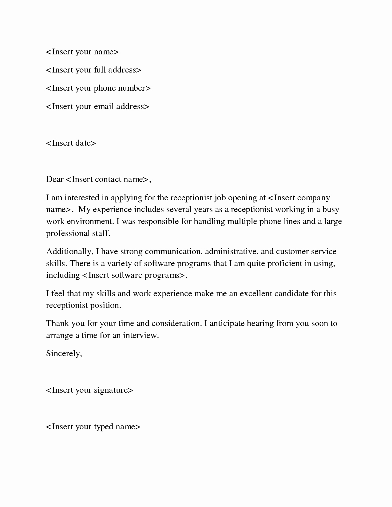 Entry Level Receptionist Resume Best Of Entry Level Veterinary Receptionist Cover Letter Find