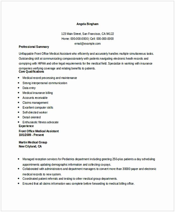Entry Level Receptionist Resume Best Of Medical Receptionist Resume