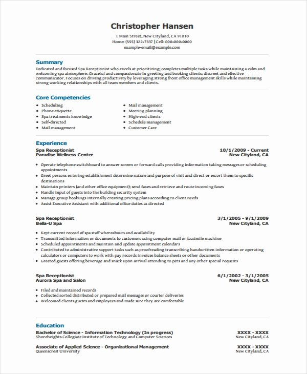 Entry Level Receptionist Resume Best Of Receptionist Resumes Resume Sample