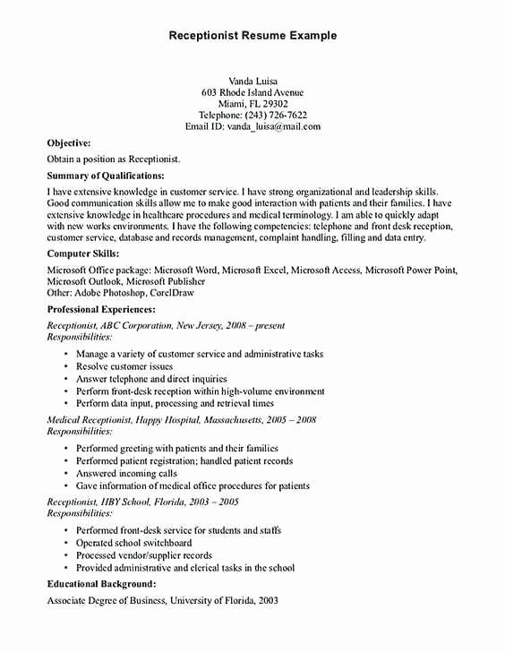 Entry Level Receptionist Resume Elegant Lovely Entry Level Medical Receptionist Resume Examples
