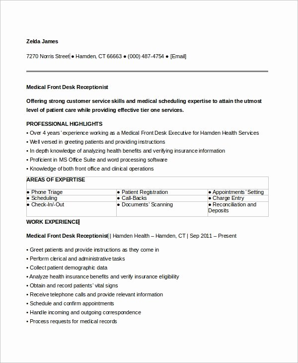 Entry Level Receptionist Resume Inspirational Sample Medical Receptionist Resume 6 Examples In Word Pdf