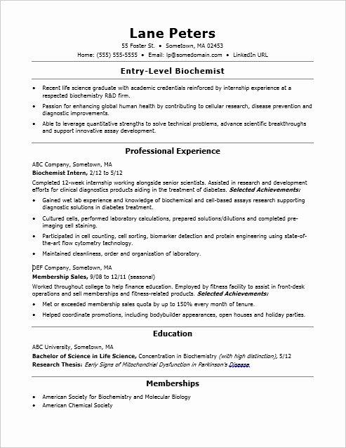 Entry Level Receptionist Resume Lovely Entry Level Biochemist Resume Sample