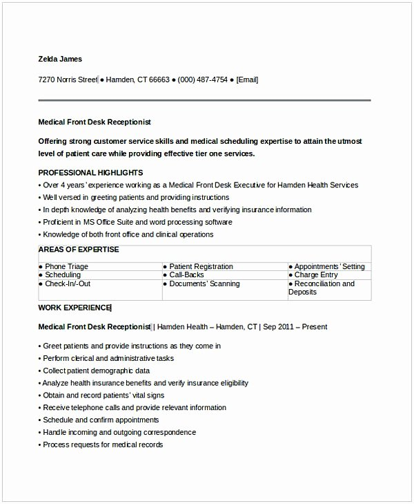Entry Level Receptionist Resume Lovely Medical Receptionist Resume