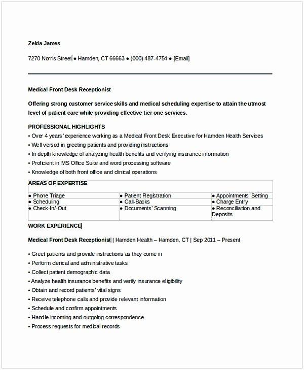 Entry Level Receptionist Resume Lovely Medical Receptionist Resume