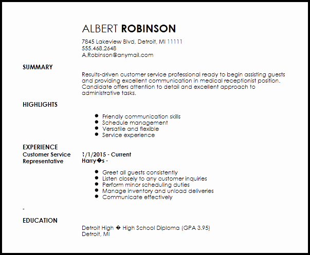Entry Level Receptionist Resume Unique Free Medical Receptionist Entry Level Resume Template