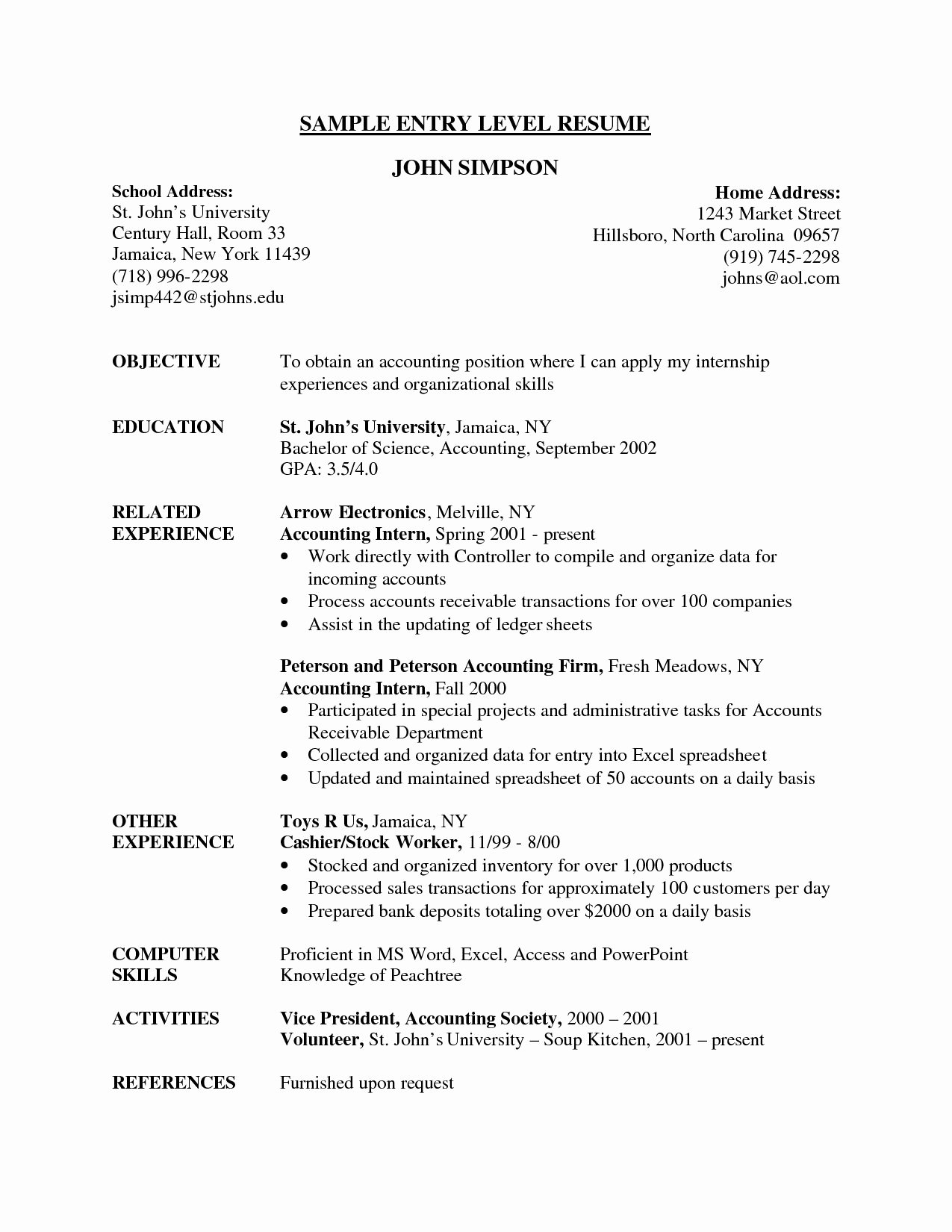 Entry Level Resume High School Awesome Entry Level Resume Samples High School Graduate for