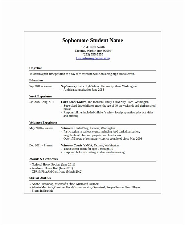Entry Level Resume High School Beautiful 10 High School Student Resume Templates Pdf Doc