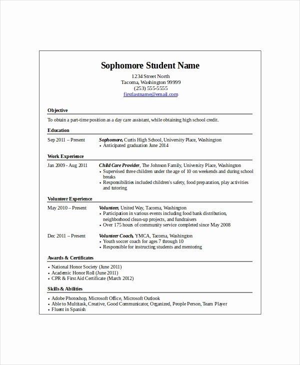 Entry Level Resume High School Beautiful 10 High School Student Resume Templates Pdf Doc