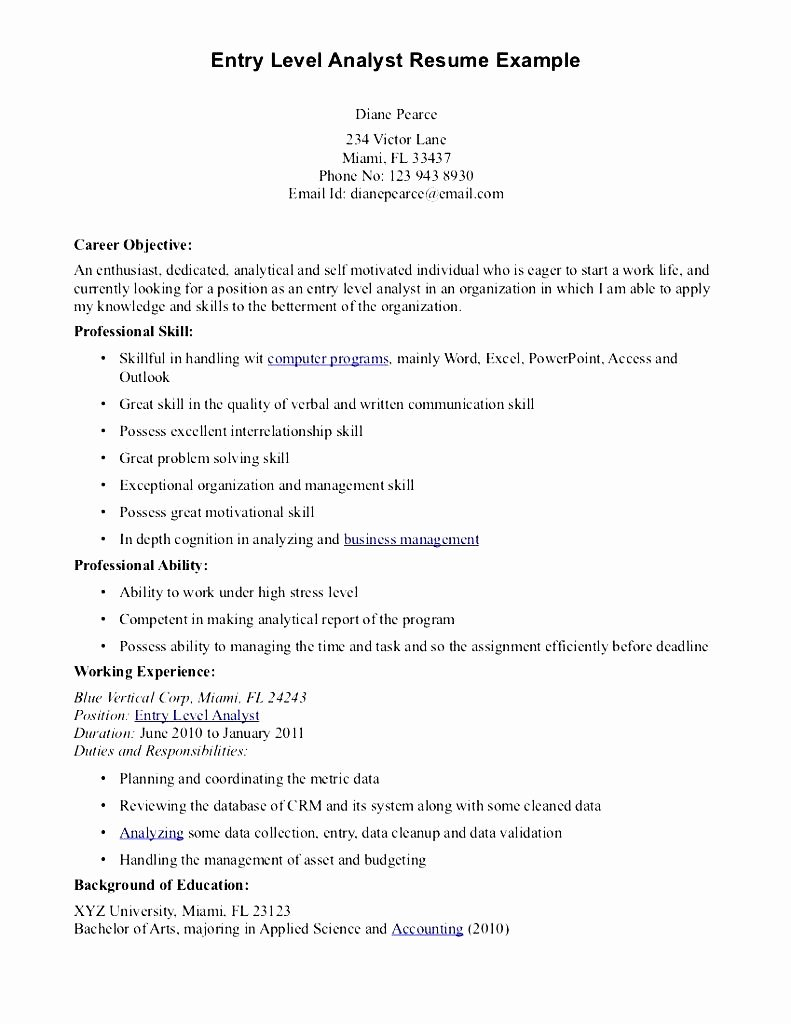 Entry Level Resume High School Best Of Financial Analyst Resume Example