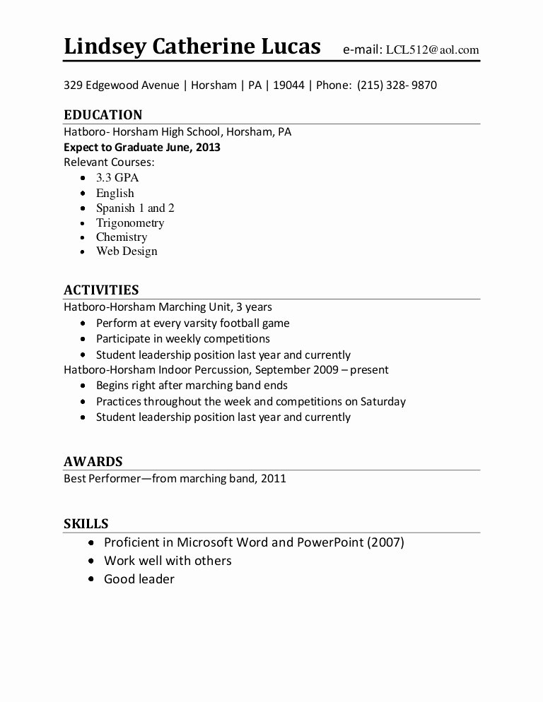 Entry Level Resume High School Best Of Resume Template