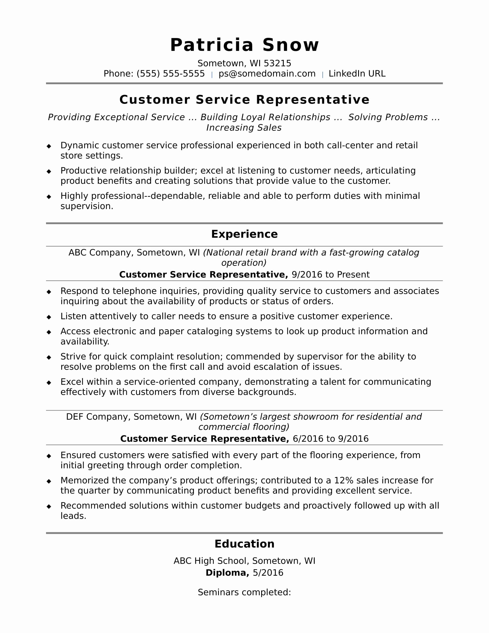 Entry Level Resume High School Elegant Customer Service Representative Resume Sample