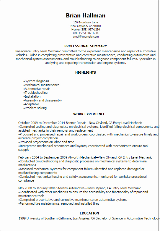 Entry Level Resume High School Lovely Professional Entry Level Mechanic Resume Templates to