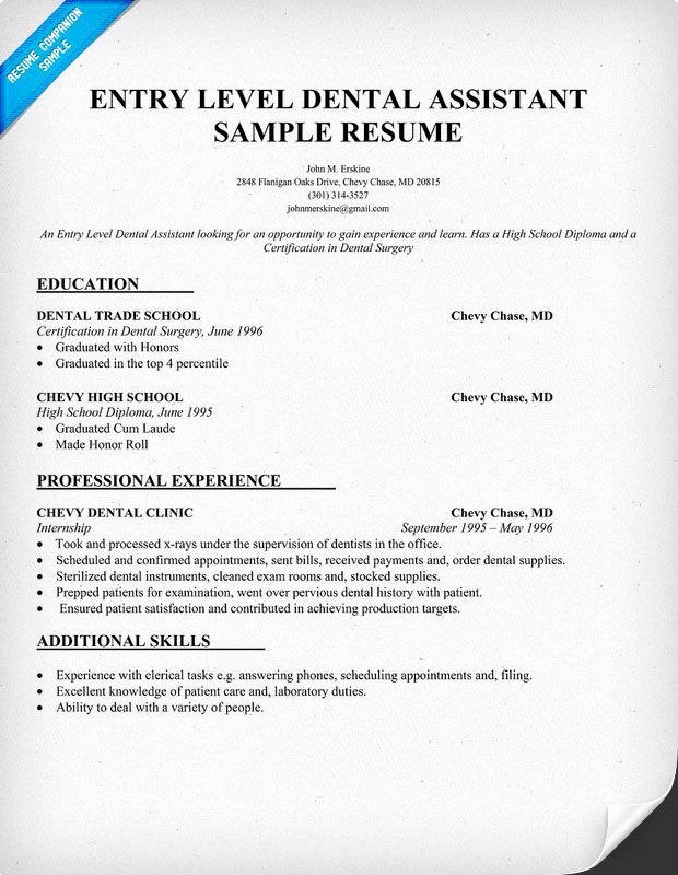 Entry Level Resume High School Luxury Entry Level Dental assistant Resume Sample Dentist