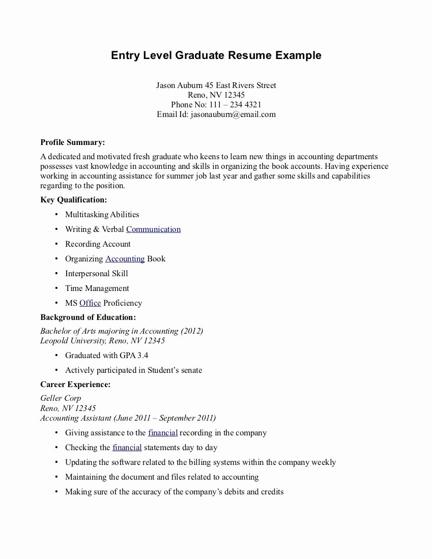 Entry Level Resume High School Luxury Medical assistant Resume Graduate