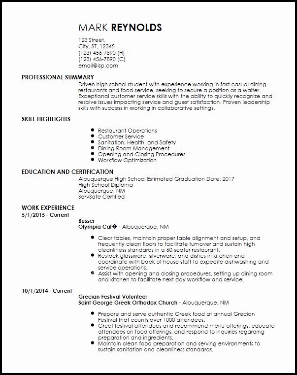Entry Level Resume High School New Free Entry Level Restaurant Resume Templates