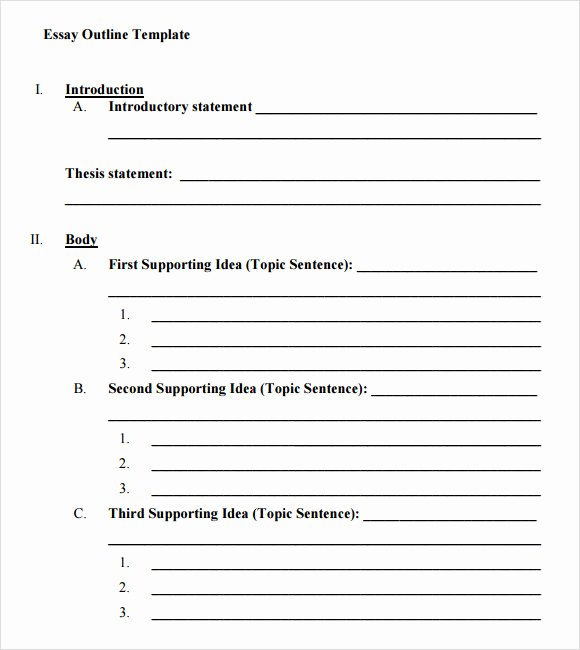 Essay Outline Template Printable Fresh Essay Outline Template