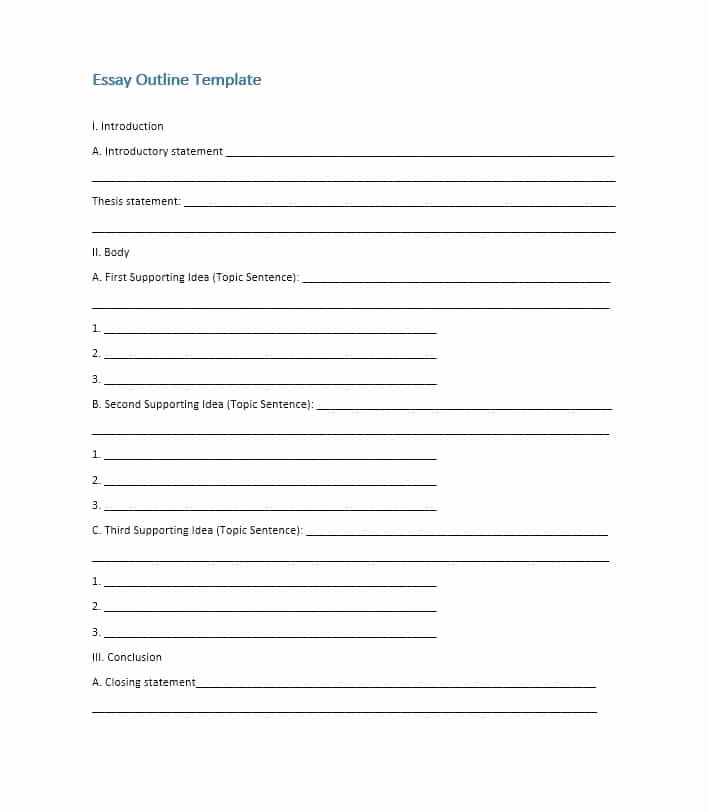 Essay Outline Template Printable New Essay Outline Template Printable