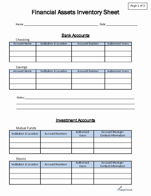 Estate asset Inventory Worksheet Best Of Financial asset Inventory form
