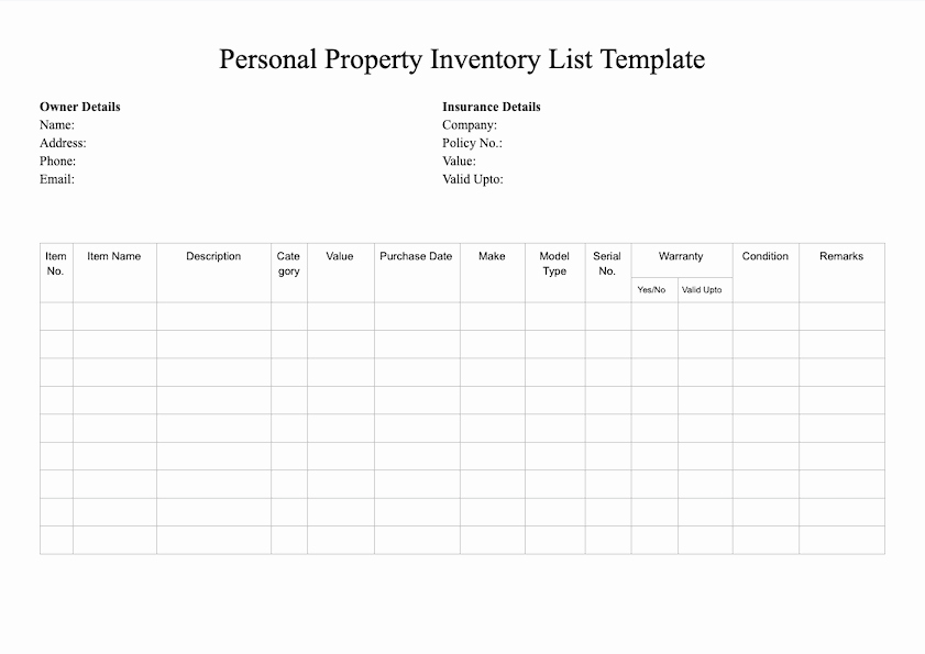 Estate asset Inventory Worksheet Luxury Free Inventory Template
