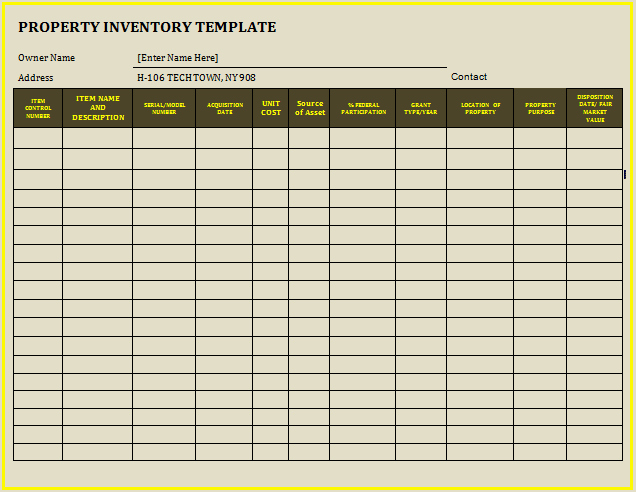 Estate asset Inventory Worksheet New Inventory Template for Furnished Rental Property