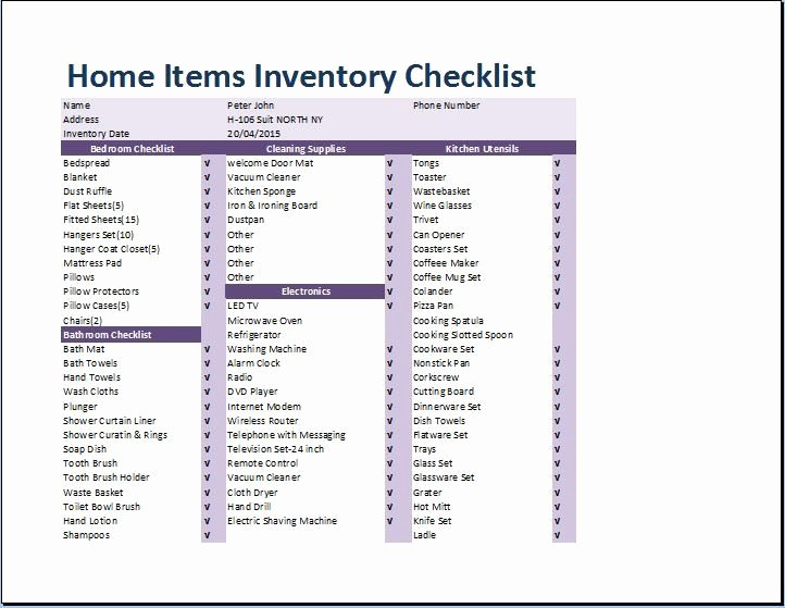 Estate Personal Property Inventory form Best Of 10 Home Inventory Templates