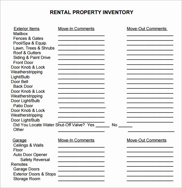 Estate Personal Property Inventory form Best Of Sample Property Inventory Template 9 Free Documents