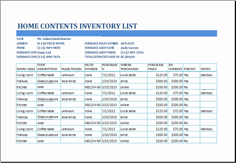 Estate Personal Property Inventory form Lovely Home Contents Inventory List Template at Xltemplates