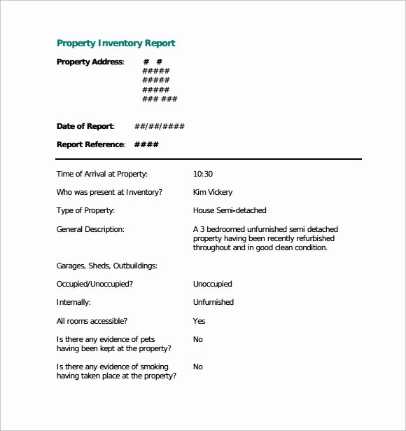 Estate Personal Property Inventory form Unique Sample Property Inventory Template 9 Free Documents