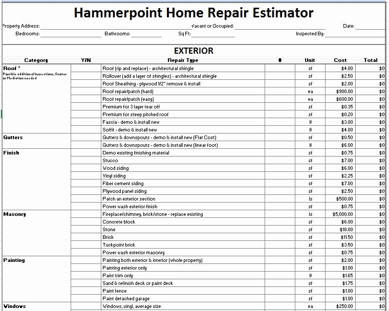 Estimate Of Repairs form Inspirational Home Repair Estimate form