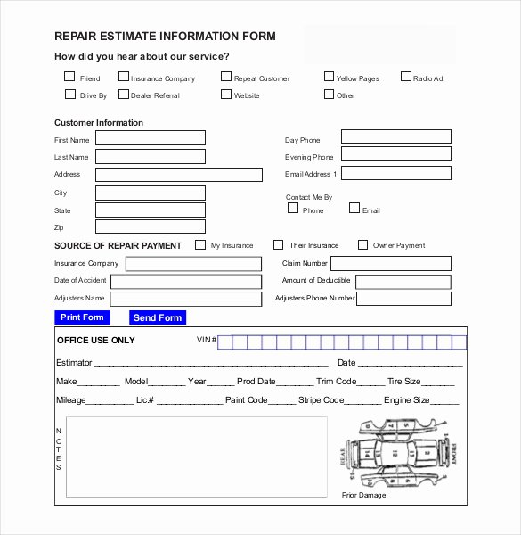 Estimate Of Repairs form New 21 Repair Estimate Templates Word Pdf Google Docs