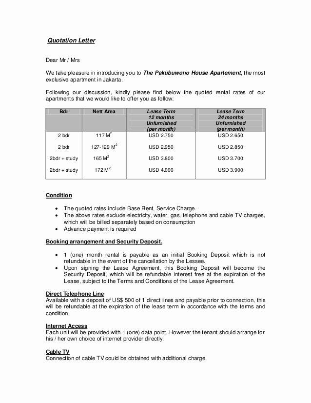 quotation letter for 2 bedroom pakubuwono house apt
