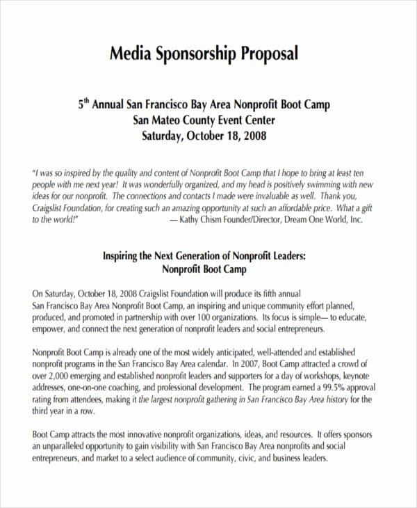 Event Sponsorship Proposal Example Elegant Free 15 Sponsorship Proposal Examples & Samples In Pdf