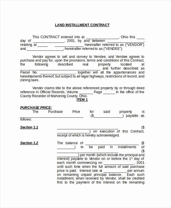Example Of A Land Contract Awesome Free 8 Sample Land Contract forms In Pdf