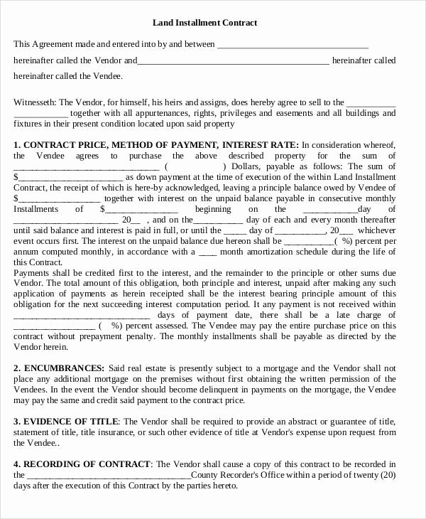 Example Of A Land Contract Inspirational 8 Land Contract Templates Examples In Word Pdf