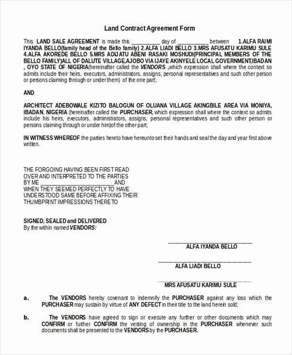 Example Of A Land Contract Inspirational 9 Sample Land Agreement forms Free Sample Example format
