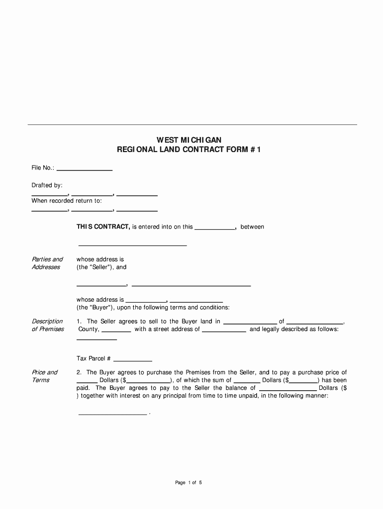 Example Of A Land Contract New Michigan Land Contract forms Fill Line Printable